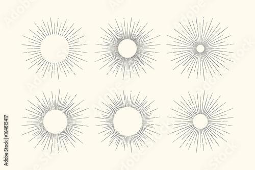 Line Art Of Sun : Set of light rays sunburst and sun. design elements linear