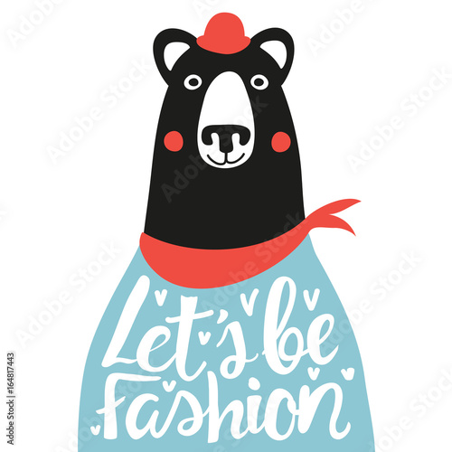 Photo  Funny vector illustration with bear in red hat and scarf
