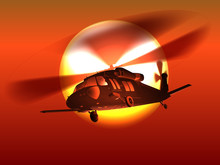 Silhouette Helicopter Black Ha...