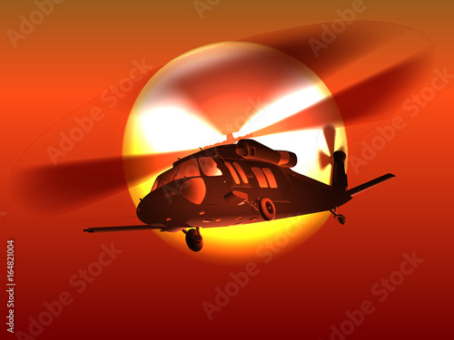 Plakat Sylwetka śmigłowca Czarny jastrząb śmigłowiec leci nad czerwony zachód słońca.