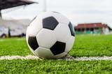 Fototapeta Sport - Soccer Football on the green grass of Soccer field.