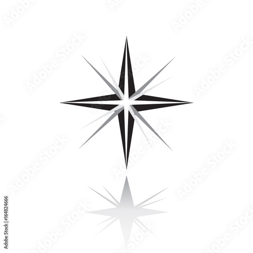 Star icon  Northern Star with shadow  Christmas Star on white