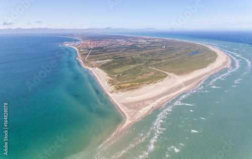 Obraz na plátně  Aerial view of Greenen Denmark,where the to seas meet (Baltic sea and North sea)Greenen is the northern most top of Denmark,and here the lands end