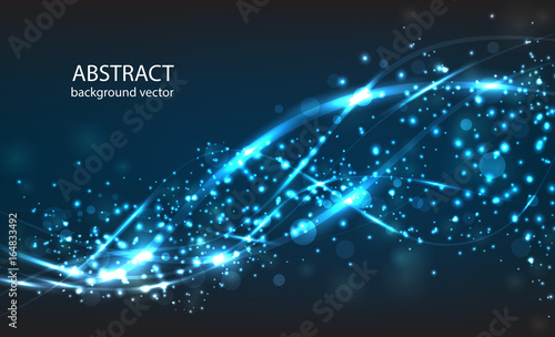 Fototapeta Vector abstract blue motion light effect background. Composition blurry particles and has bright lights. obraz