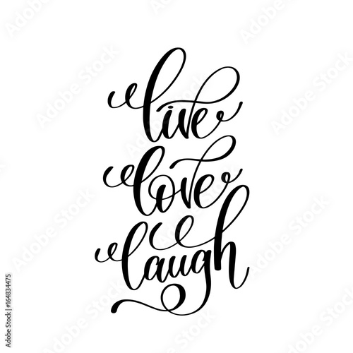 live love laugh black and white handwritten lettering Wallpaper Mural
