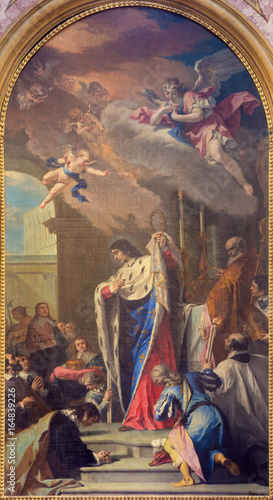 Fotografía TURIN, ITALY - MARCH 14, 2017: The painting of Sanit Louis IX of France in church Basilica di Suprega by Sebastiano Ricci da Belluno (1659 - 1734)