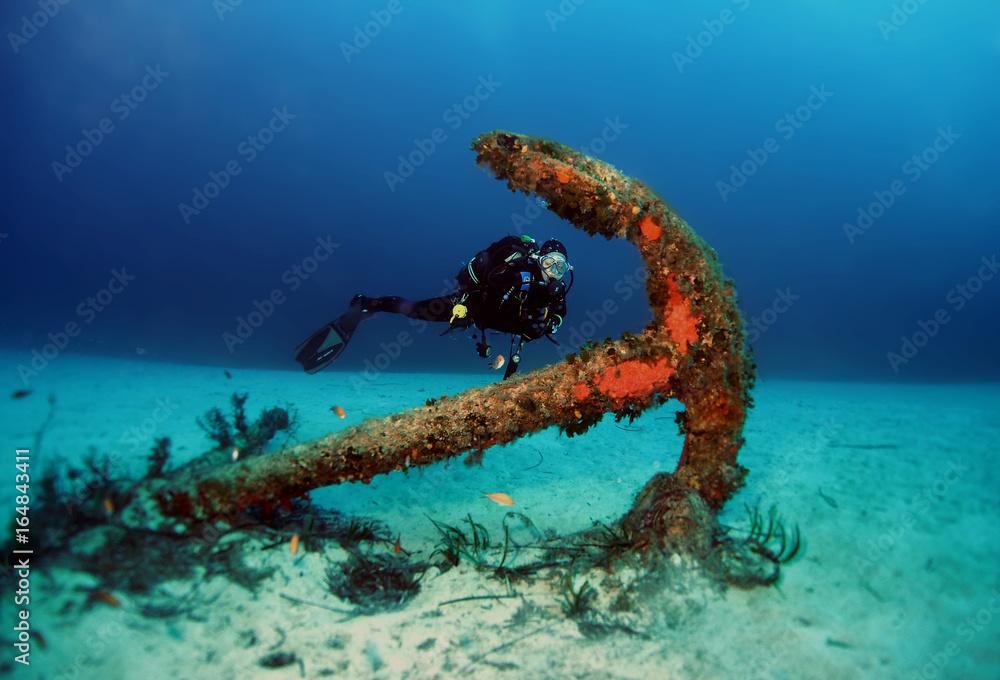 Fototapeta Anchor Close to Tug Boat Rozi - Cirkewwa Dive Site - Malta