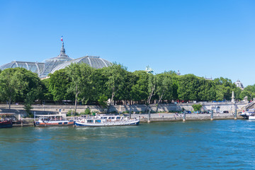Paris, view of the Grand Palais, the Seine and houseboats