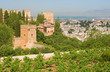 Granada - The outlook over the Alhambra and the town from Generalife gardens.