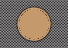 Brown Leather Circle On Gray Weave Texture Pattern Background Vector Illustration.
