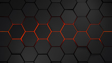 Grey And Orange Hexagons Moder...