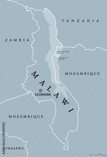 Malawi On Africa Map.Malawi Political Map With Capital Lilongwe Republic Landlocked
