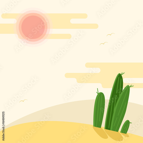 day-desert-landscape-with-cacti-under-the-sun-flat-vector-illustration-hot-sahara-desert-under-faded-sky