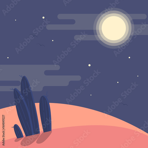 night-desert-landscape-with-silhouettes-of-cacti-under-the-night-sky-flat-vector-illustration-background-sahara-desert-under-the-moon