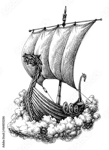 Photo  Sail boat drawing