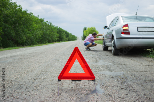 Red Warning Triangle With A Broken Down Car Breakdown Of