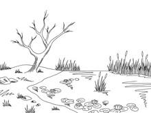 Bog Swamp Graphic Black White ...