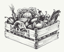 Wooden Crate Full Of Organic F...