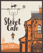 Vector Banner For Street Cafe With Signboard On The Background Of Old City Landscape In Retro Style
