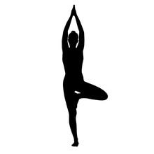Yoga Asana Tree Silhouette