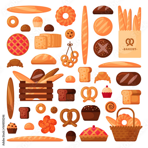 Fresh bread and pastries in flat style #164858246
