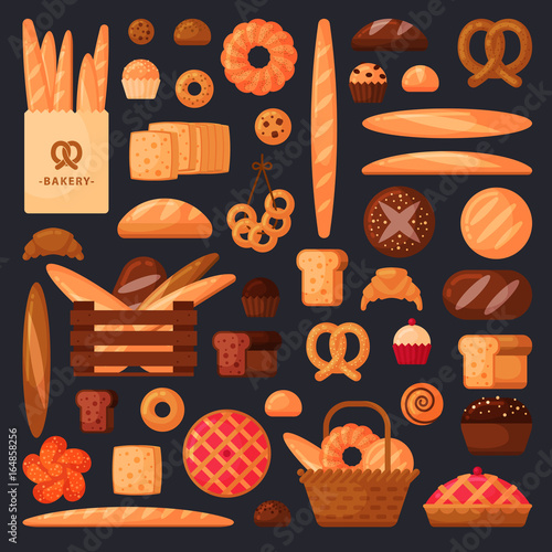 Fresh bread and pastries in flat style #164858256