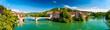 Leinwanddruck Bild - Zwillingsstadt Laufenburg am Hochrhein an der Grenze von Deutschland und der Schweiz