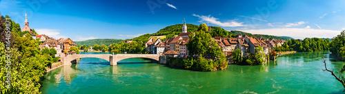 Fotografie, Obraz  Zwillingsstadt Laufenburg am Hochrhein an der Grenze von Deutschland und der Sch