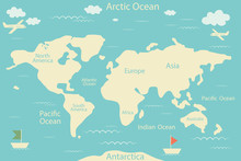 World Map Isolated On A Blue Background. Vector Illustration. Layout Of The Infographic Layout. Flat World Of Earth.