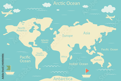 World map isolated on a blue background Vector illustration Layout