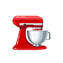 Red Stand Mixer With Metal Bow...