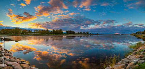 Poster Cappuccino Rocky sea shore. Picturesque dawn over Saaremaa island.