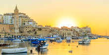 View To Marina With Boats From Waterfront In The Morning, Malta