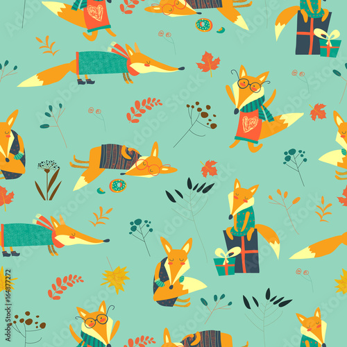 Cute foxes seamless pattern with autumn leaves Slika na platnu