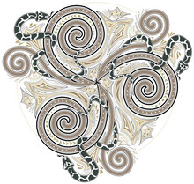 Illustration Of Celtic Disk Ornament With Triple Spiral Symbol And Snakes, Vector Image.
