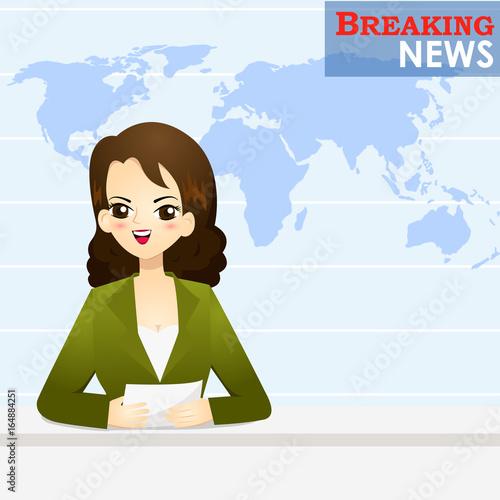 News announcer telling news in studio - vector illustration Canvas Print