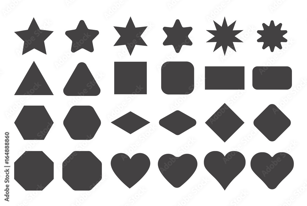 Fototapety, obrazy: Basic shape elements with sharp and rounded edges vector set.