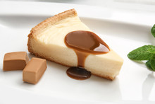Plate With Delicious Cheesecak...