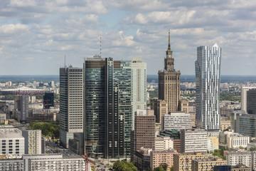 Warsaw city downtown panorama