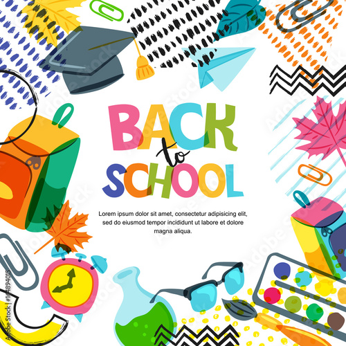 Vector back to school banner, poster background. Hand drawn lettering and doodle color school supplies on white background. Education concept. © Betelgejze