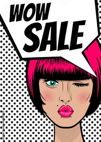 Fototapeta WOW Sale. Pop-artu sexy kobieta reklama rocznika plakat. Balon komiksu tekst dymek. Rabat transparent wektor retro ilustracja. Komiksowa dziewczyna wow zdziwiona marketingowa specjalna oferta.