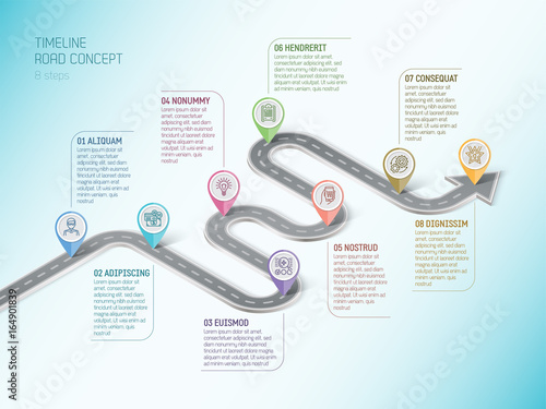 Photo  Isometric navigation map infographic 8 steps timeline concept. W