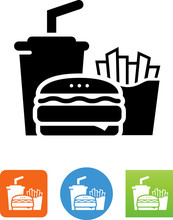 Burger Fries And Drink Icon - Illustration