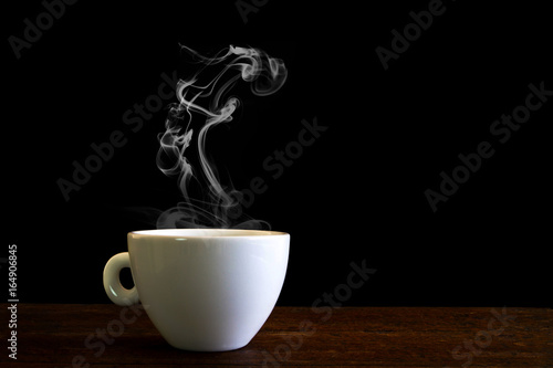 Poster Cafe white coffee cup with steam