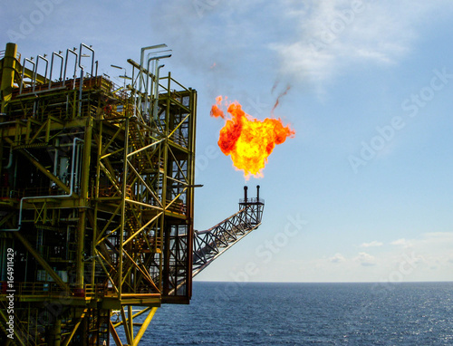 Tablou Canvas offshore platform gas flare