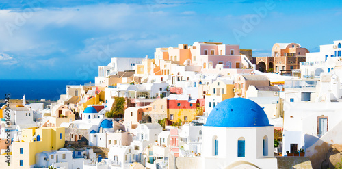 Poster Santorini White houses in the town of Oia on the island of Santorini