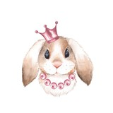 Rabbit and crown. Watercolor illustration. Isolated on white background - 164917879