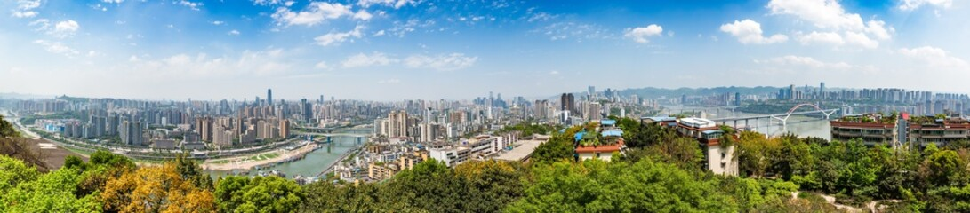 Panel Szklany panoramic view of cityscape,midtown skyline,shot in China.