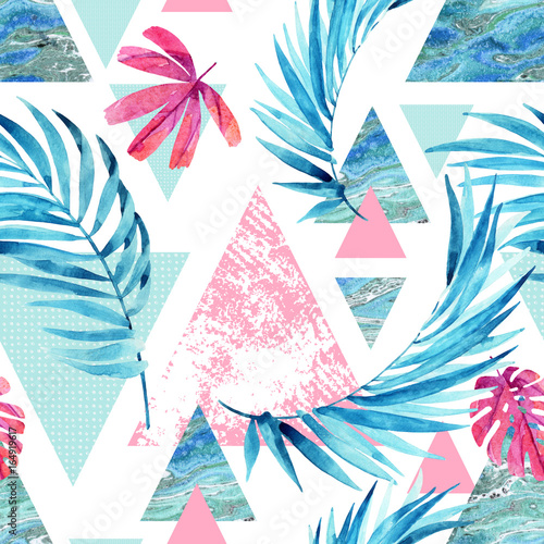 Fotobehang Grafische Prints Abstract watercolor triangle and exotic leaves seamless pattern.