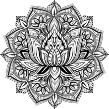 Filigree Lotus Flower, Vector Handdrawn Illustration On Mandala Background